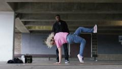 4K Female breakdancer dancing , in slow motion, shot on RED EPIC DRAGON - stock footage