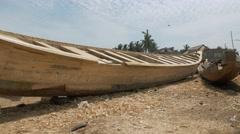 Ghana african wood fisherman boat 4K Stock Footage