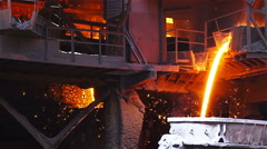 Hot steel pouring in steel plant slow motion Stock Footage