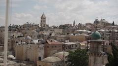 Jerusalem skyline with churches, Israel Stock Footage