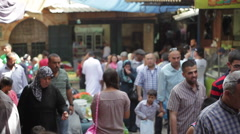 People walk in a busy middle east market street, Jerusalem, Israel Stock Footage