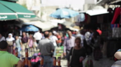Palestinians in a busy middle east market in Jerusalem, Israel Stock Footage