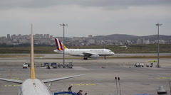 German wings airplane taxis at Istanbul airport Stock Footage