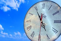 Clock Face In Bright Sky Stock Illustration