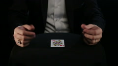 In the hands of a magician card change a single motion - stock footage