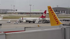 Fly Pegasus low cost airline takes off at Istanbul airport, Turkey Stock Footage