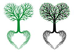 tree of life, heart tree, vector - stock illustration