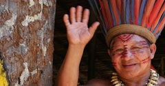 Native Brazilian at an indigenous tribe in the Amazon Stock Footage