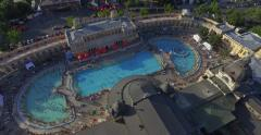 Open air bath and spa  in Budapest, Hungary (AERIAL) Stock Footage