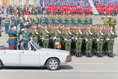 Russian ceremony of the opening military parade on annual Victory Day - stock photo
