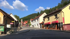Karlstejn Town (Beroun District) below the Karlstejn castle. Bohemia - stock footage