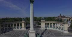 Heroes' Square - the largest square in Budapest (Aerial). 4K Stock Footage
