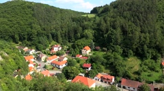 Karlstejn Town (Beroun District) from the Karlstejn castle. Bohemia - stock footage