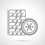 Tires kit flat line vector icon Stock Illustration