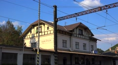 Karlstejn Railway Station. Bohemia Stock Footage