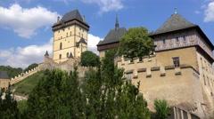 Karlstejn medieval Castle. Bohemia Stock Footage