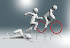 Triathlon 3D symbol, Olympic sports - stock illustration