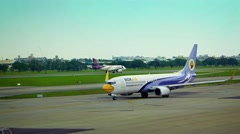 Nok Air Airliner Taxis towards Runway Stock Footage