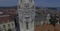 The Matthias Church and the Fishermen's Bastion (AERIAL). 4K Stock Footage