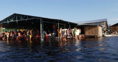 Party at a floating house in Manaus, Brazil. Stock Footage