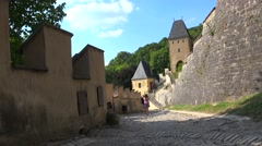 Tourists in the Karlstejn medieval Castle. Bohemia Stock Footage