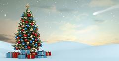 Winter landscape with colorful christmas tree - stock illustration