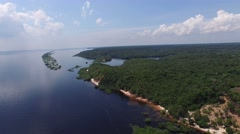 Aerial view Rio Negro in Amazon, Brazil - stock footage