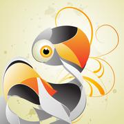 artistic swan - stock illustration