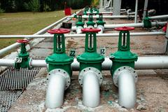 Oil and gas pipe line valves - stock photo