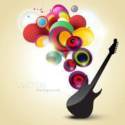 artistic guitar - stock illustration