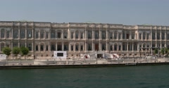 View of Ciragan Palace from Bosphorus in Istanbul, Turkey Stock Footage