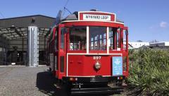 Auckland Dockline Wynyard Quarter Tram New Zealand Stock Footage