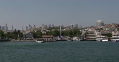 View of Besiktas from Bosphorus of Istanbul Stock Footage
