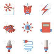 Colored flat icons for saving energy Stock Illustration