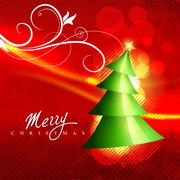 beautiful christmas tree - stock illustration