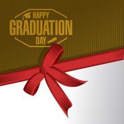 Stock Illustration of happy graduation day ribbon card