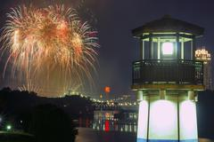 Fireworks Behind Boom Island Lighthouse Stock Photos