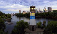 Boom Island Minneapolis Skyline Panorama - stock photo