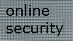 """online security"" typed on computer screen, individual pixels visible - stock footage"