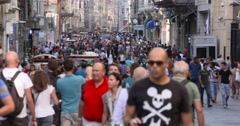 Crowded People in Istiklal Street, Turkey Stock Footage