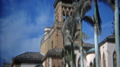 1972: Tuscan style villa architecture style closeups. - stock footage