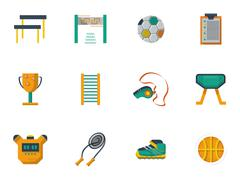 Physical culture flat color vector icons set - stock illustration