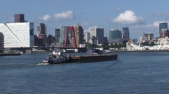 Skyline Blaak city district + downtown area behind Nieuwe Maas (Meuse) Stock Footage