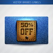 Stock Illustration of jeans and leather offer label