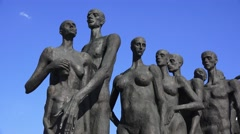 Figures in the Holocaust Memorial (in 4k) in Park Pobedy, Moscow, Russia. Stock Footage