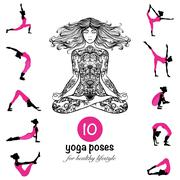 Yoga poses asanas pictograms composition poster Stock Illustration