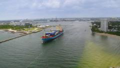 Aerial View of Container Ship Port Everglades, Fort Lauderdale, Florida Stock Footage