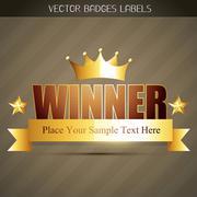 Stock Illustration of golden winner label