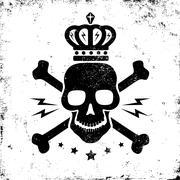 Black skull and crown Stock Illustration
