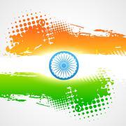 Stock Illustration of shiny indian flag